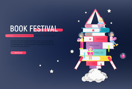 Book Festival or Fair Advertising Poster - Small Characters Reading Books on Books Stacked in Rocket Silhouette. Concept - Knowledge, Space, Wisdom. Vector Illustration. Landing Web Page.