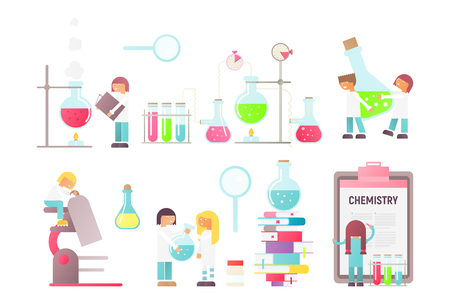 Science Laboratory Research Signs and People on White. Scientists Working at Lab. Lab Equipment Set. Flasks, Beakers, Spirit Lamp, Burner and Microscope. Chemistry Classroom. Vector Illustration.
