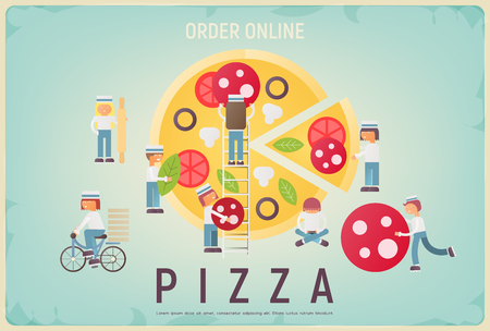 Pizza Order Online Banner. Ad for Pezzeria, Delivery Pizza. Retro Poster - Cartoon Small Size People Making Pepperoni on Blue Background. Vector Illustration. Ilustração