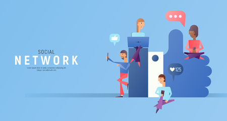 Modern Flat Design Concept of Social Media with Characters -  People Follow the Trend near big symbol I Like on Blue Background. Vector Illustration.