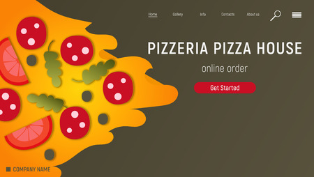 Pizzeria Website. Landing page - Big Slice of Pizza on Black Background. E-commerce Concept. Fast food pizza delivery online service. Online order. Vector illustration.