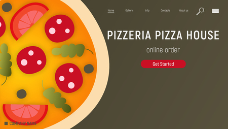 Pizzeria Website. Landing page - Big Whole Pizza on Black Background. E-commerce Concept. Fast food pizza delivery online service. Online order. Vector illustration. Ilustração