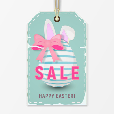 Easter Sale Tag in Retro Style. Easter Striped Egg and Bunny Ears on Blue Discount Sticker. Vector Illustration. Ilustração