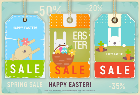 Happy Easter Sale Tags. Holiday Discount Labels Set. Easter Eggs and Bunnies. Vector Illustrations. Ilustração