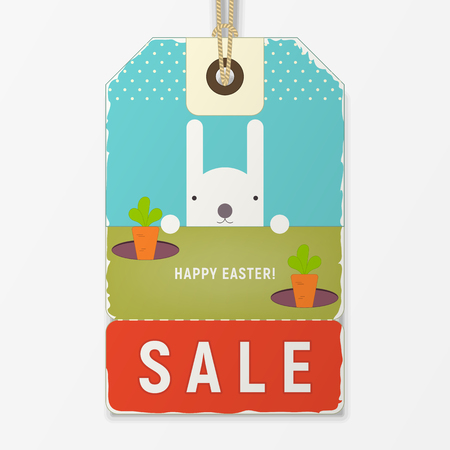 Easter Sale Tag in Retro Style. Easter Bunny and Carrots on Vintage Discount Sticker. Vector Illustration.