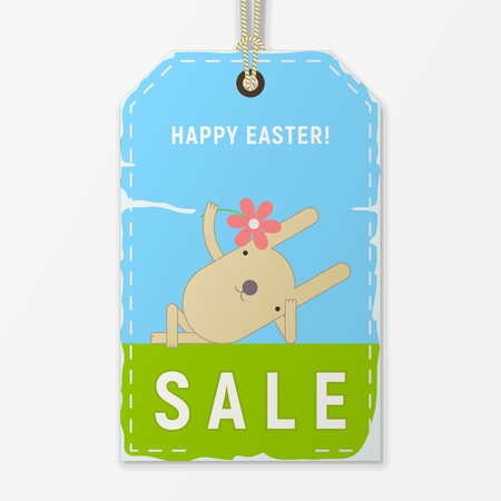 Easter Sale Tag in Retro Style. Easter Bunny with Flower lying on the grass on Vintage Discount Sticker. Vector Illustration.