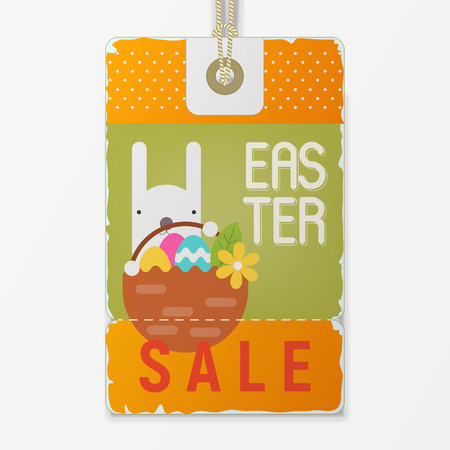 Easter Sale Tag in Retro Style. Easter Bunny Holding Basket with Easter Eggs on Vintage Discount Sticker. Vector Illustration.