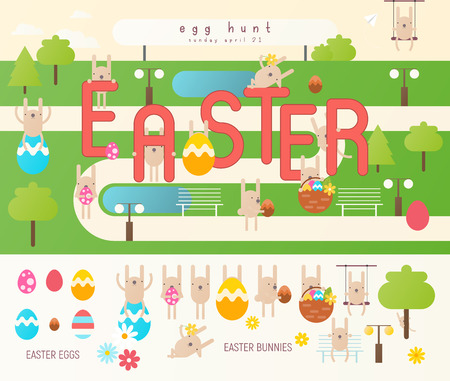 Easter Egg Hunt on Park Map. Easter Eggs and Cartoon Bunny in Separated Set. Spring Greeting Card or Poster. Vector Illustration For Holiday Flyers and Banners Design.
