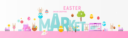 Easter Market Online Shopping Horizontal Banner with Easter Elements and Bunnies. Great for Flyers, Posters, Headers, Landing Page, Website. Vector Illustration. Flat Design. Ilustração