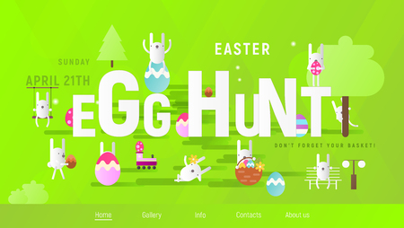 Easter Egg Hunt on Park. Easter Eggs and Cartoon Bunny on Green Background. Spring Greeting Card or Poster. Vector Illustration For Holiday Flyers and Banners Design. Website Template.