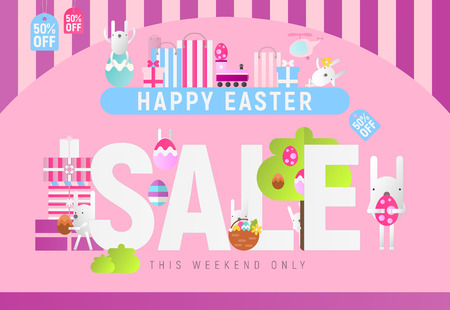 Modern Flat Design Concept of Easter Sale – Storefront of Spring Shop on Pink Background with Easter Bunnies and Colored Eggs. Vector Illustration for Mobile Apps and Web Site Design.