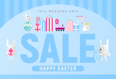 Happy Easter Sale. Spring Banner with Cartoon Easter Rabbits. Storefront of Shop on Blue Background. Vector Illustration for Mobile Apps and Web Site Design.