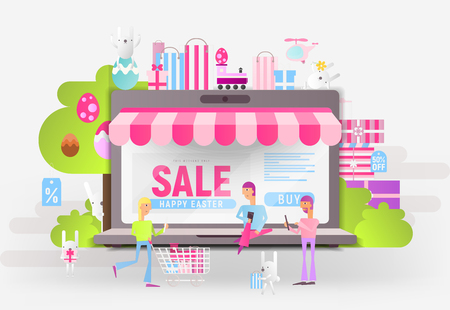 E-commerce Easter Sale Banner - Easter Bunnies and Young People who Do Online Mobile Shopping near Big Laptop with Store Shop. Vector Illustration for Mobile Apps and Web Site Design.