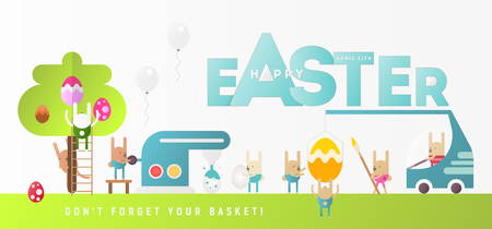 Happy Easter Greeting Banner. Easter Eggs and Cartoon Bunny near Big Letters. Holiday Design Web Banner For Site. Vector Illustration.