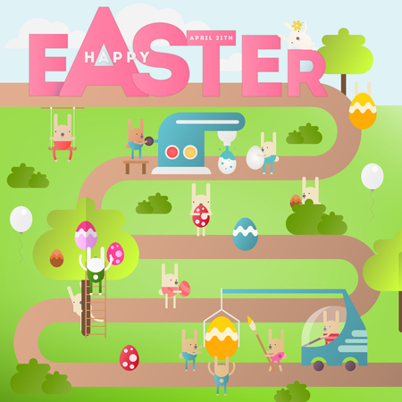 Easter Eggs and Cartoon Bunny. Spring Greeting Card or Poster. Vector Illustration For Holiday Flyers and Banners Design.