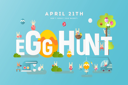 Easter Egg Hunt Invitation Banner. Easter Eggs and Cartoon Cute Bunny on Blue Background. Spring Greeting Card or Poster. Vector Illustration For Holiday Flyers Design.