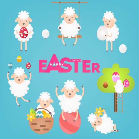 Set of Various Cute Sheeps and Eggs for Easter Day on Blue Background. Vector Illustration.
