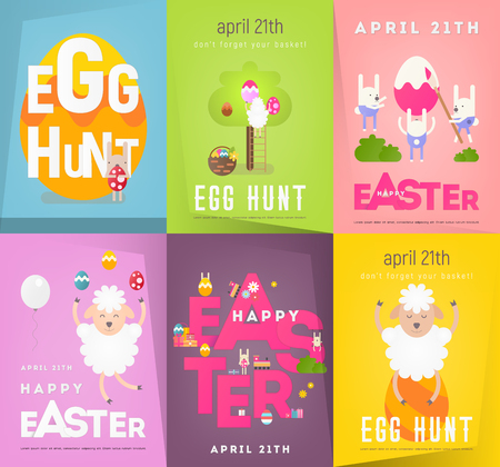 Happy Easter Posters Set. Funny Cute White Sheeps and Easter Rabbits on Greeting Spring Holiday Banners. Vector Illustration.