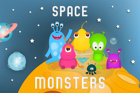 Space Poster - Cartoon Aliens and Galaxy Monsters on Moon. Travel Concept. Vector Illustration. Stock Illustratie