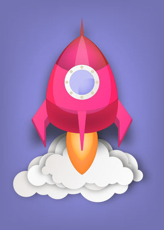 Space Rocket Launch. Spaceship Taking Off. Concept of Startup New Business, Technology Idea. Vector illustration. Ilustração