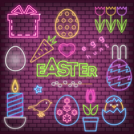 Happy Easter Icons in Neon Style. Glowing Signs for Spring Holiday Greeting Cards, Posters or Banners. Fluorescent Easter Eggs with Different Designs, Chick, Tulips, Candle on Brick Wall Background. Vector Illustration.