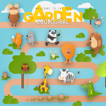 Zoo Animals in Zoological Garden or Park. Cartoon Cute Crocodile, Monkey, Koala, Giraffe, Bear, Fox and other Characters. Vector Illustration. Ilustração