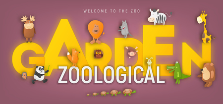 Zoo Animals in Ad for Zoological Garden or Park. Cartoon Cute Crocodile, Monkey, Koala, Giraffe, Bear, Fox and other Characters on Banner. Vector Illustration. Ilustração