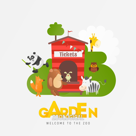 Zoo Animals near Ticket Booth in Ad for Zoological Garden or Park. Cartoon Cute Zebra, Bear, Koala, Giraffe, Fox and other Characters on Square Card. Vector Illustration.