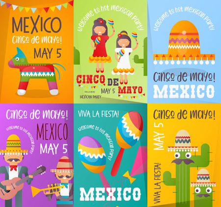 Cinco de Mayo Posters Set. Cute Mexicans with Maracas and Mexican Guitars. 5th May Holiday Objects Set - Pinata, Sombrero, Funny Cactus and Decorations. Vector Illustration.