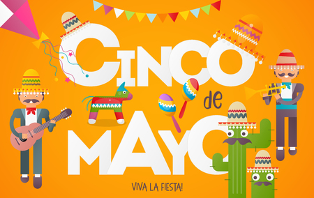 Cinco de Mayo Banner. Cute Mexican Musicians with Guitar and Trumpet. 5th May Holiday Objects Set - Pinata, Sombrero, Funny Cactus and Decorations. Yellow Background. Vector Illustration.