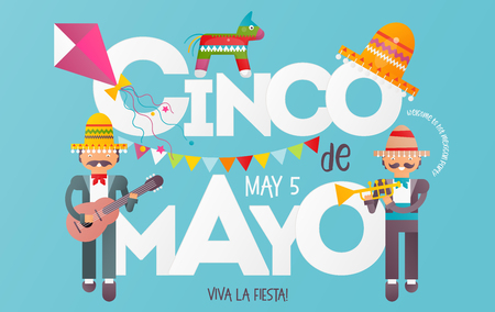 Cinco de Mayo Banner. Cute Mexican Musicians with Guitar and Trumpet. 5th May Holiday Objects Set - Pinata, Sombrero and Decorations. Blue Background. Vector Illustration.
