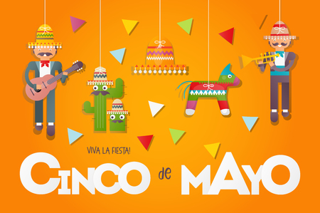 Cinco de Mayo. Cute Mexican Musicians with Guitar and Trumpet. 5th May Holiday Objects Set - Paper Figures of Pinata, Sombrero and Cactus Hanging on Threads on Orange Background. Vector Illustration.