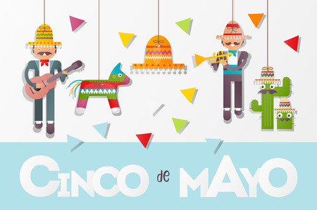 Cinco de Mayo Banner. Cute Mexican Musicians with Guitar and Trumpet. 5th May Holiday Objects Set - Paper Figures of Pinata, Sombrero and Cactus Hanging on Threads. Vector Illustration.