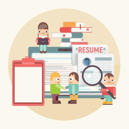 Flat Design Hiring, Job Interview and Recruitment Concept - Funny People near Big Laptop. Hiring New Employee. Vector Illustration. Job Interview Concept. Application and CV. Retro Design.