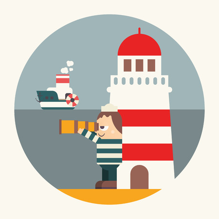 Funny Cartoon Sailor or Lighthouse Keeper on the Beach looking at Sea through Telescope or Spyglass. Seaman near Lighthouse. Vector Illustration in Retro Design.