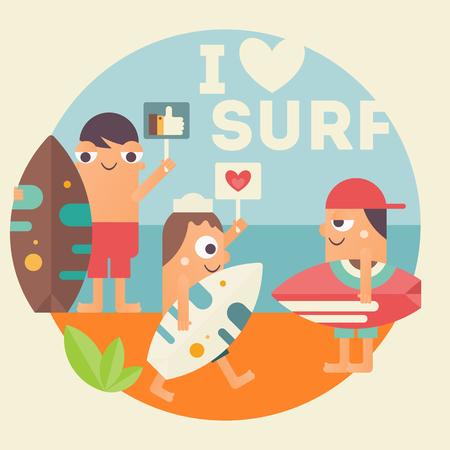 I Love Surfing Concept Poster. Funny Cartoon Surfers with Surfboard on Beach. Vector Illustration. Retro Design. Emblem for Surfing Club, Website or Online Shop of Surf Equipment. Illustration