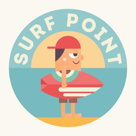 Surfing Poster. Funny Cartoon Surfer with Surfboard under Text Surf Point. Vector Illustration. Retro Design. Emblem for Surfing Club, Website or Online Shop of Surf Equipment. Illustration