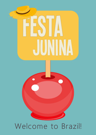Festa Junina - Brazil June Festival. Poster for Folklore Holiday. Caramel Apple on Blue Background. Vector Illustration. Ilustração