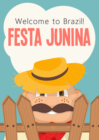 Festa Junina - Brazil June Festival. Poster for Folklore Holiday. Funny  Hick in Straw Hat. Vector Illustration.