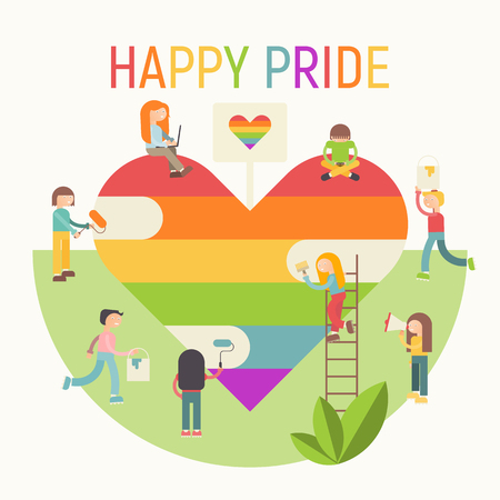 LGBT People Community Poster - Happy Pride. LGBTQ Group of Cartoon Cute People is painting Huge Rainbow Heart. Human rights. Vector Illustration. Emblem for Love Parade or Online Dating.