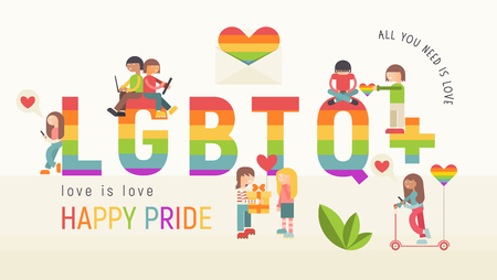LGBT People Community Banner. LGBTQ Group of Cartoon Cute People is near Huge Rainbow Letters. Human rights. Vector Illustration. Emblem for Love Parade or Online Dating.