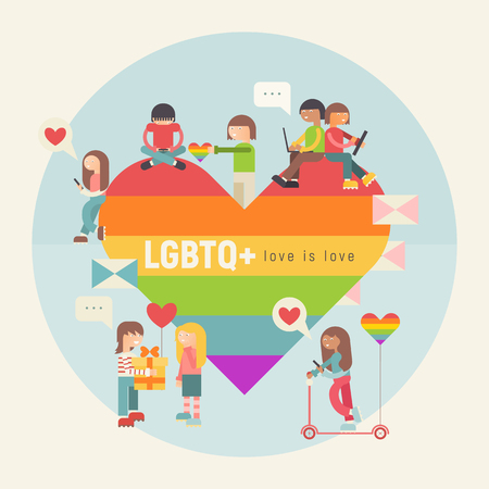 LGBT People Community Poster. LGBTQ Group of Cartoon Cute People is near Huge Rainbow Heart. Human rights. Vector Illustration. Emblem for Love Parade or Online Dating.