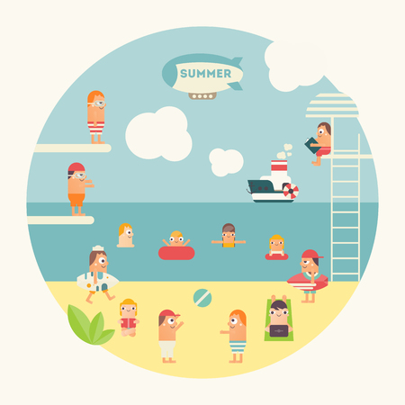 People at Beach Relaxing Outdoor - Sunbathing, Reading, Surfing, Swimming in Sea, Playing the Ball. Flat Design Summertime. Vector Illustration.