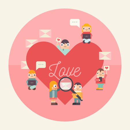 Online Dating Concept. Cute Cartoon People Send and Receive Love Email Messages via Mobile Gadgets. Idea of Internet or Remote Relationship. Vector Illustration. Flat Design. Ilustração