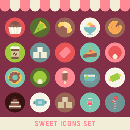 Collection of Sweets in Flat Style. Sweets, Cupcake, Donut, Ice Cream, Croissant, Big Cake, Coffee in Retro Design. Vector Illustration.