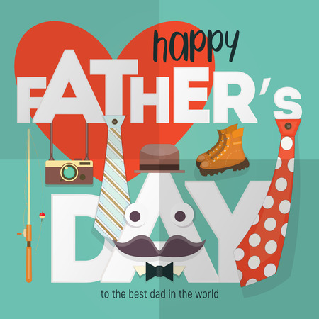 Happy Fathers Day. Greeting Card Template. Holidays Background with Symbols Super Dad - Necktie, Hat, Boots, Mustache and Camera on Big White Letters. Vector Illustration. Retro Design. Square Format