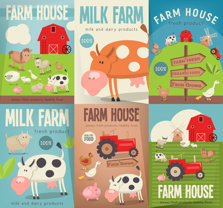 Farm House Posters Set. Farmers Market. Healthy Food, Organic Products and Farming Concept. Retro Style. Vector Illustration. Farm Animals, Livestock.