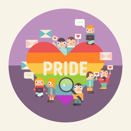 Happy Pride poster. LGBT People Community Concept. Cartoon Cute People and Big Rainbow Heart. Vector Illustration. Emblem for Love Parade or Online Dating.