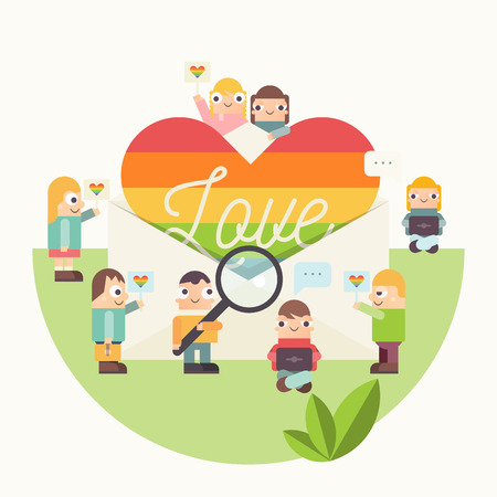 LGBT People Community Poster. LGBTQ Group of Cartoon Cute People is near Rainbow Heart in Envelope with text Love. Human Rights Concept. Vector Illustration. Emblem for Love Parade or Online Dating. Ilustração