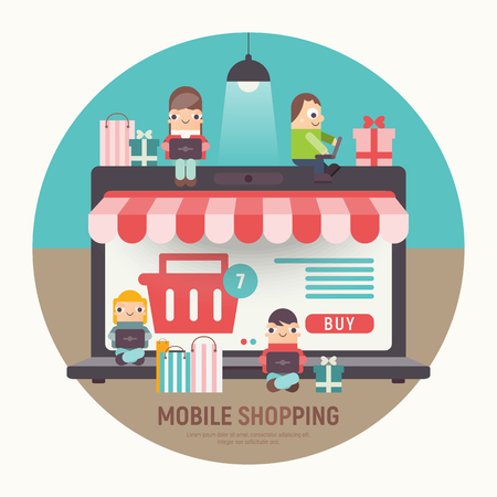 E-commerce Online Concept  - Cartoon People who do Mobile Shopping in front of Huge Laptop with Open Online Shop. Vector Illustration for Web Page, Social Media and Landing Page. Ilustração